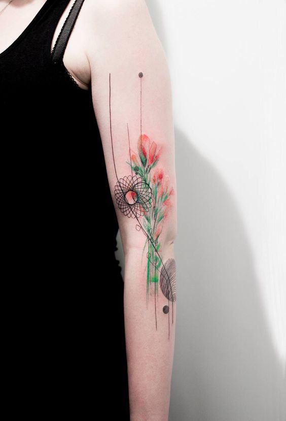 Watercolor Geometric Flowers Arm Tattoo