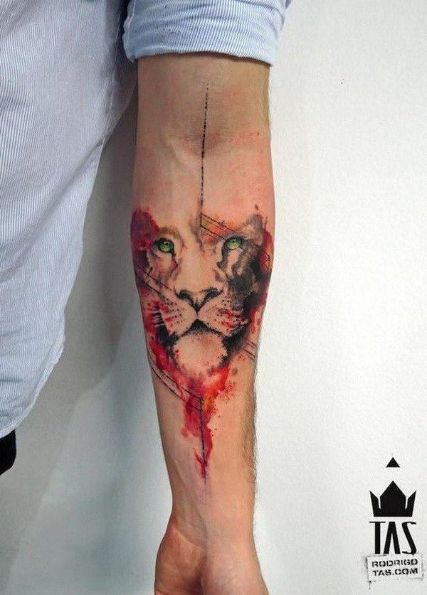 Watercolor Geometric Lion Forearm Tattoo