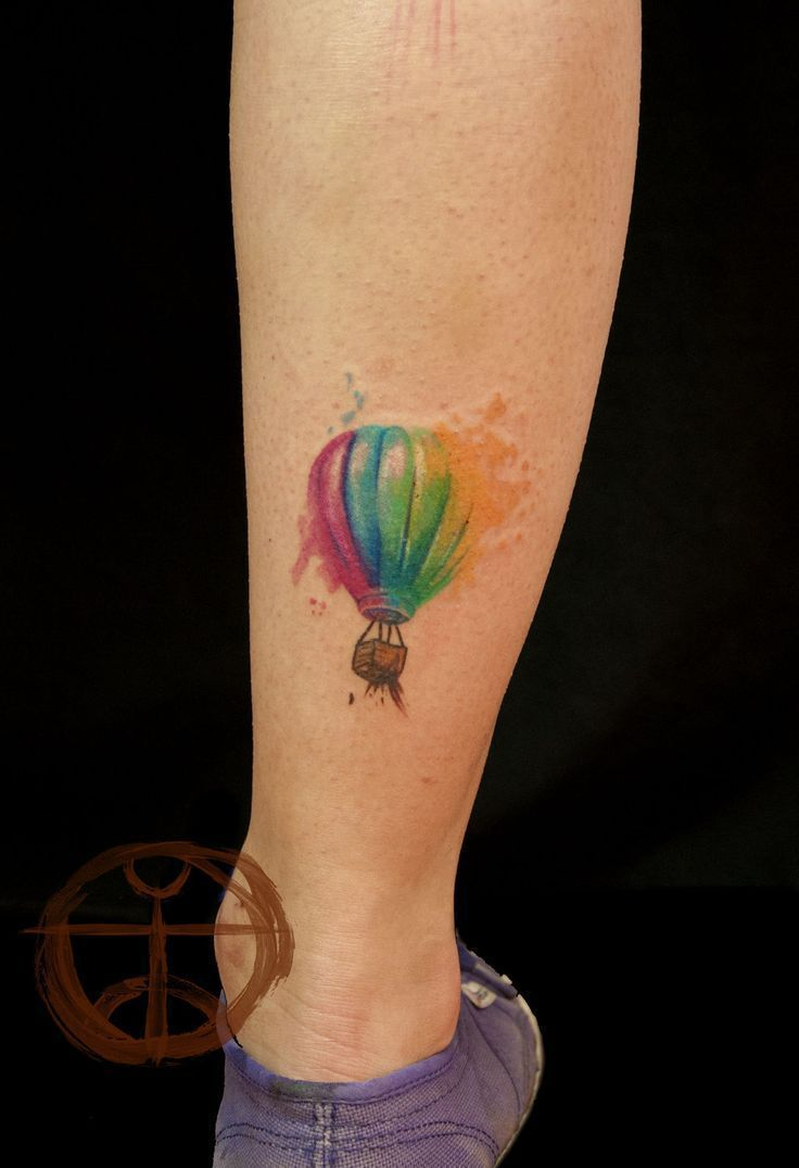 40 new trend watercolor tattoos amazing tattoo ideas 31watercolor hot air balloon calf tattoo gumiabroncs Gallery