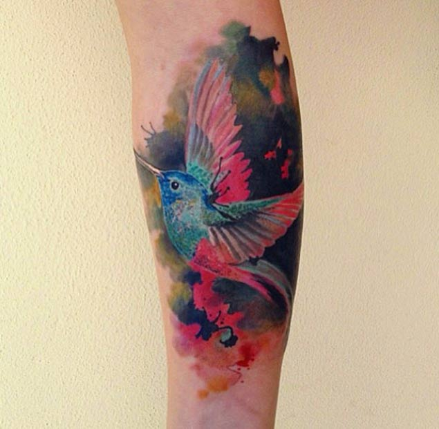 Watercolor Hummingbird Forearm Tattoo