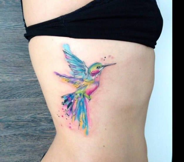 Watercolor Hummingbird Side Tattoo
