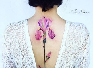Watercolor Iris Spine Tattoo
