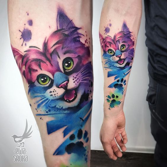 Watercolor Kitten Forearm Tattoo