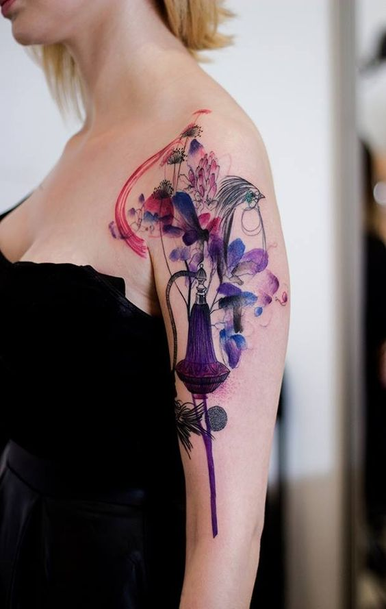 Watercolor Nature Abstract Arm Tattoo