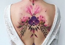 Watercolor Orchid Back Tattoo