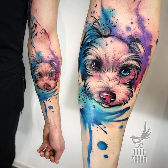 Watercolor Puppy Forearm Tattoo