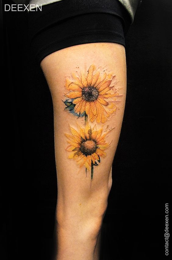 Watercolor Sunflower Thigh Tattoo