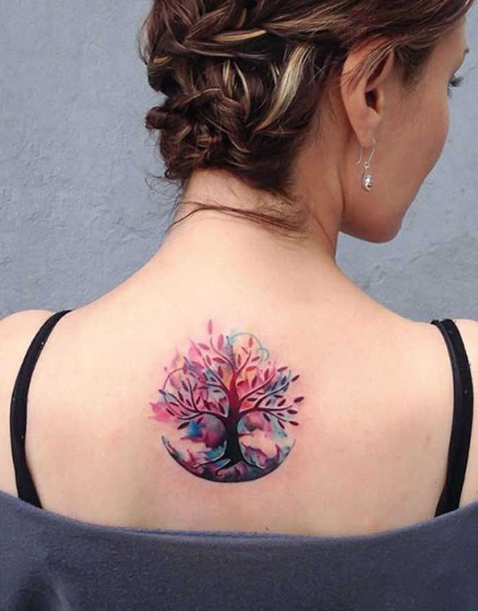 Watercolor Tree Of Life Tattoo