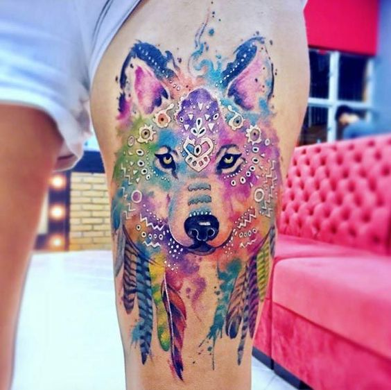 Watercolor Tribal Wolf Tattoo