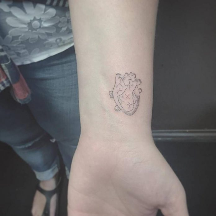 Anatomical Heart Wrist Tattoo