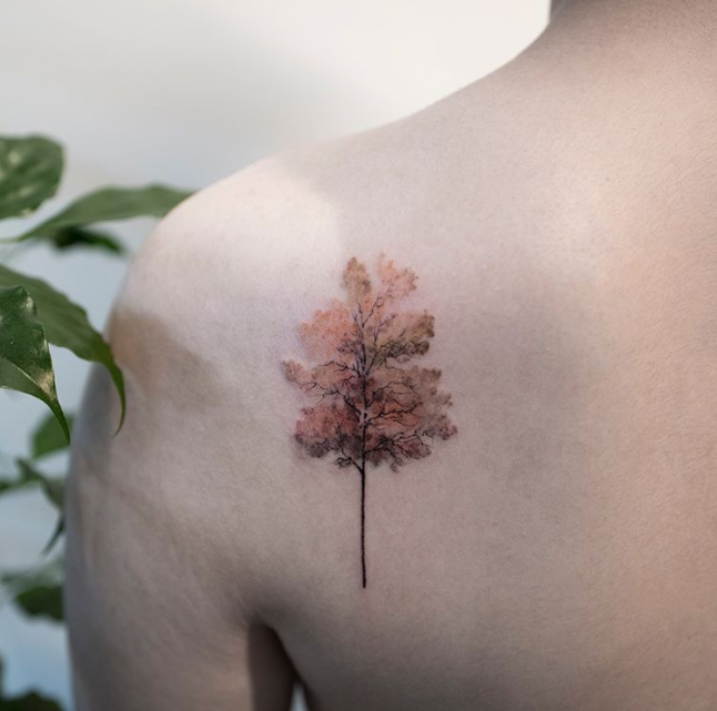 Autumn Themed Tree Back Tattoo
