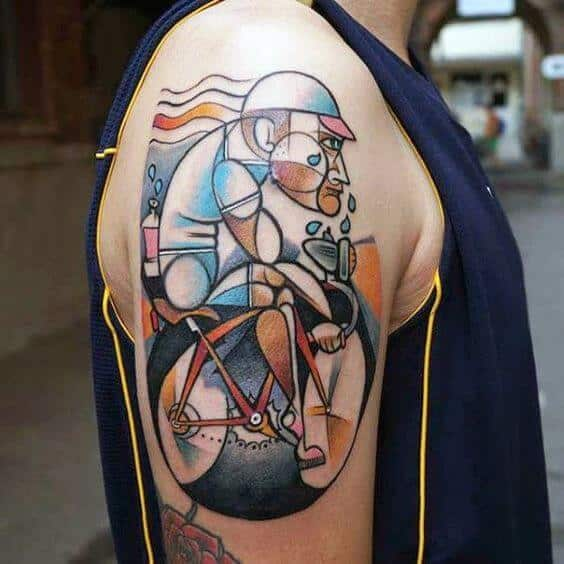 Contemporary Cyclist Arm Tattoo