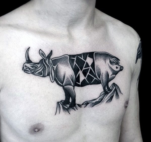 Dotwork Rhino Pig Chest Tattoo