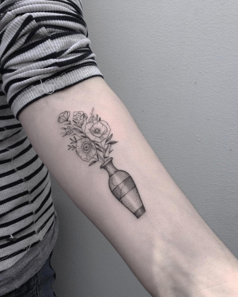 Dotwork Vase With Poppies Forearm Tattoo