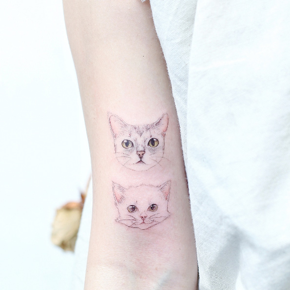 Fine Line Kitten Arm Tattoo