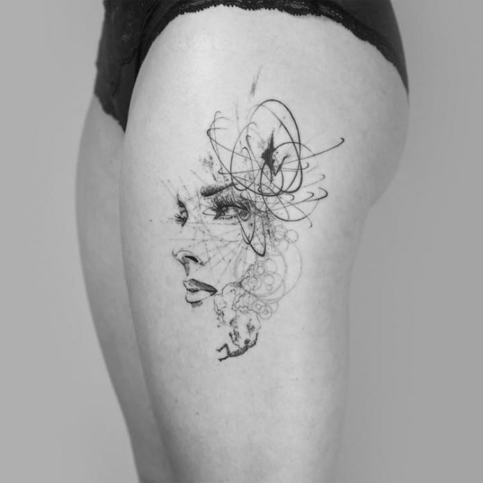Fine Line Portrait thigh Tattoo