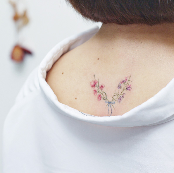 Floral Arrangement Back Tattoo