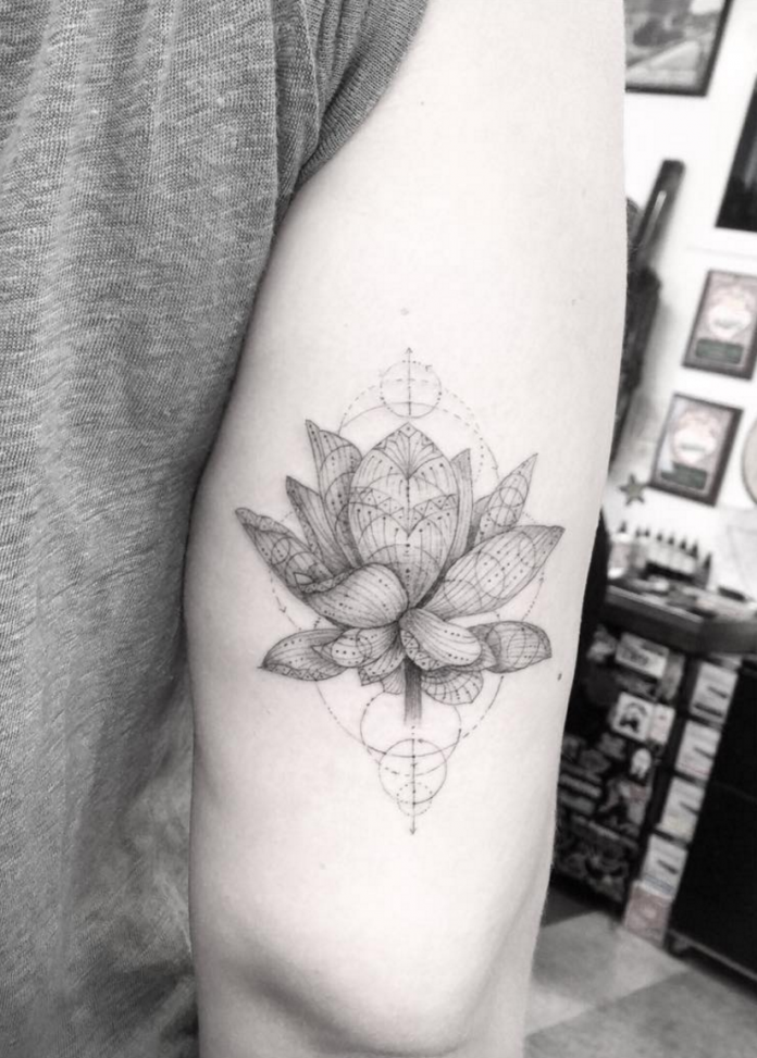 Geometric Lotus Arm Tattoo