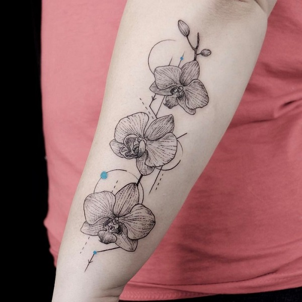 Geometrical Orchid Arm Tattoo
