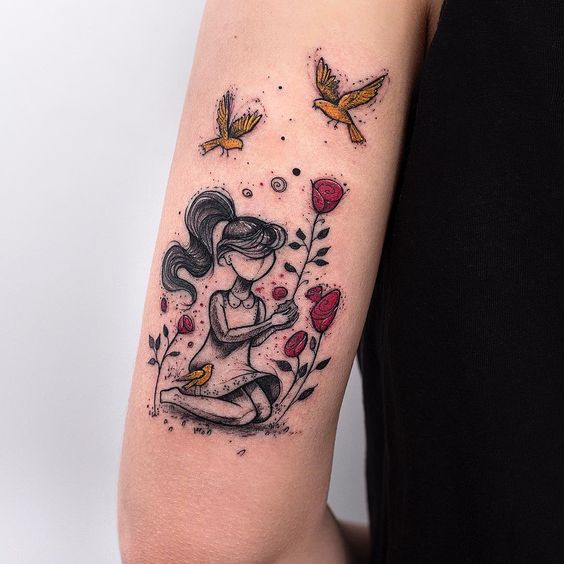 Girl In A Garden Arm Tattoo