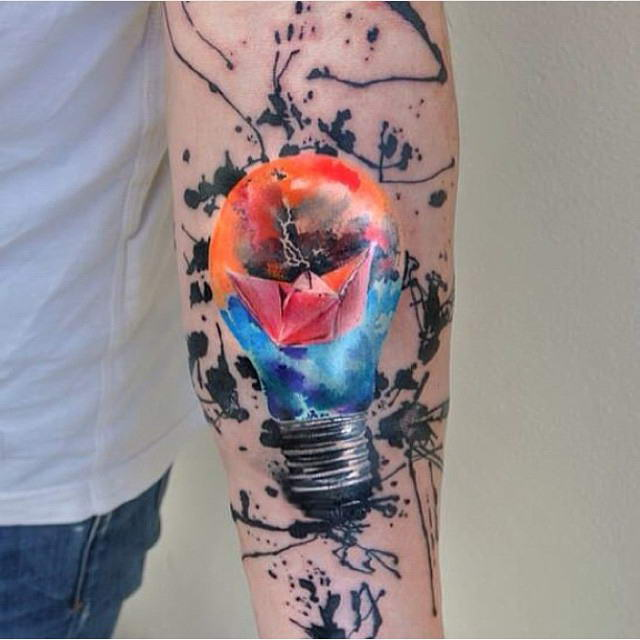 Glowing Lightbulb Forearm Tattoo