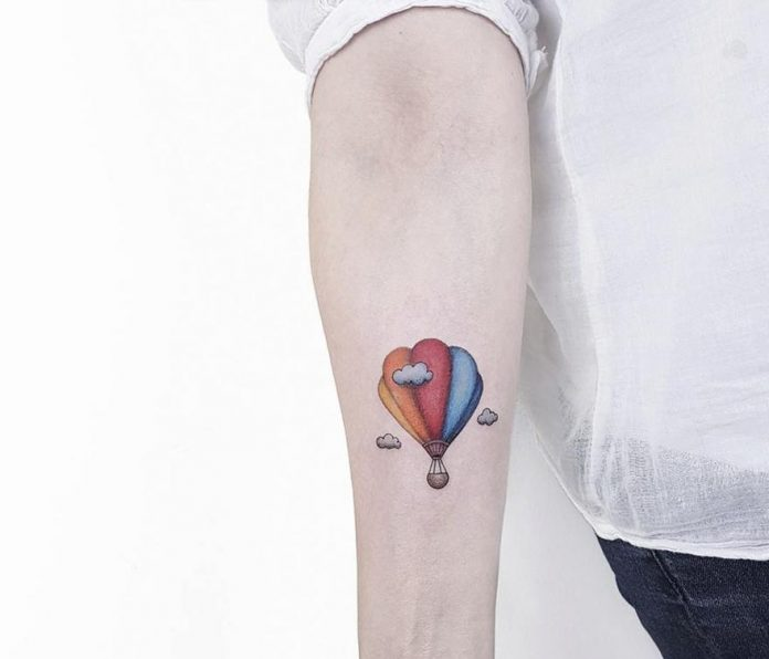 Hot Air Balloon Forearm Tattoo