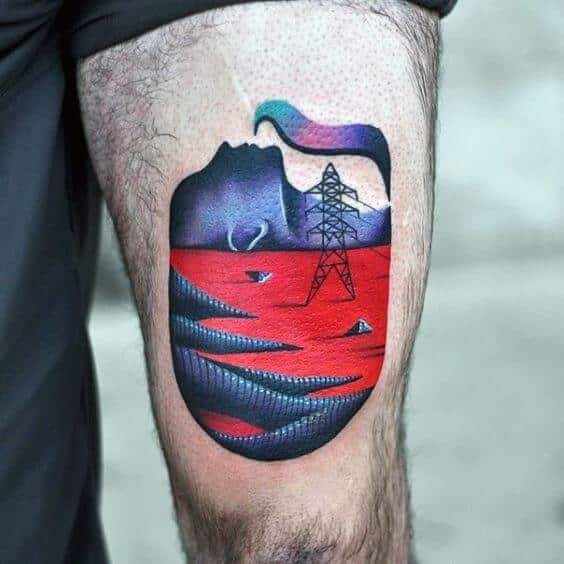 Imaginative Landscape Thigh Tattoo