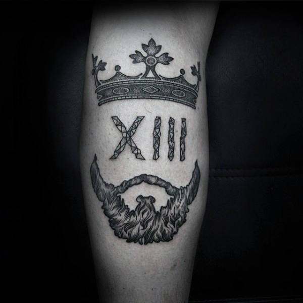 King Crown With Beard Calf Tattoo