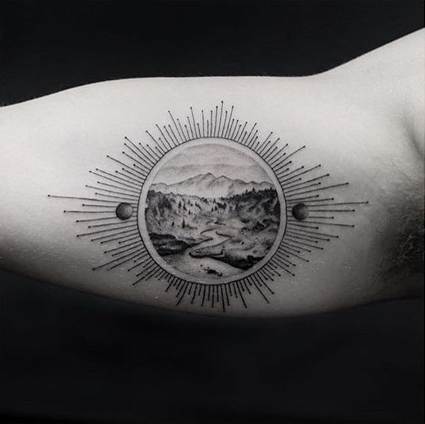 Landscape Sun Arm Tattoo