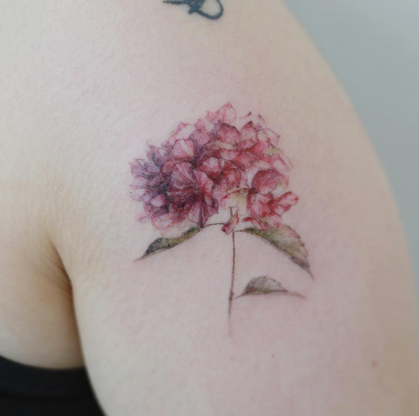 Lovely Hydrangea Arm Tattoo