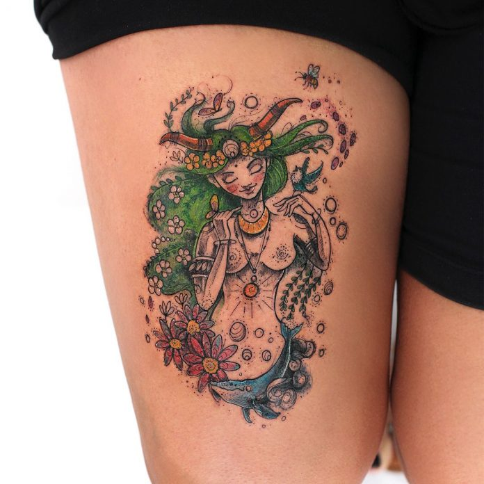 Mystical Portrait Thigh Tattoo