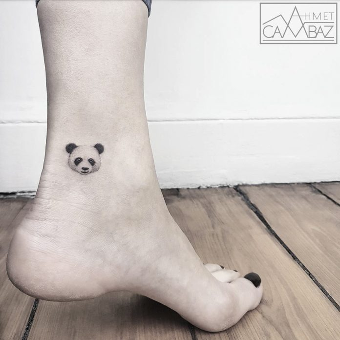Panda Head Ankle Tattoo