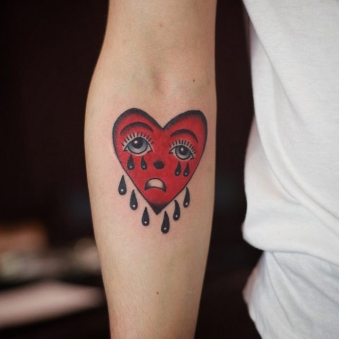 Raining Heart Forearm Tattoo
