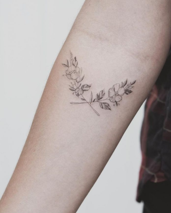 Single Needle Botanical Tattoo