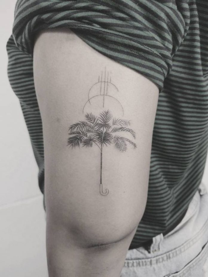 Single Needle Palm Tree Arm Tattoo