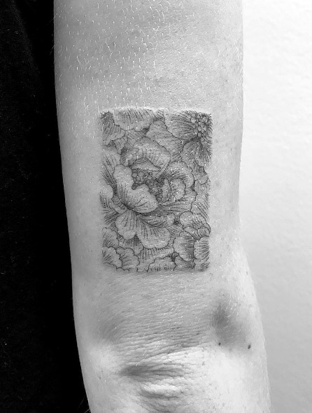 Single Needle Peony Arm Tattoo