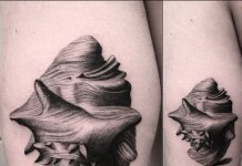 Single Needle Shell Thigh Tattoo