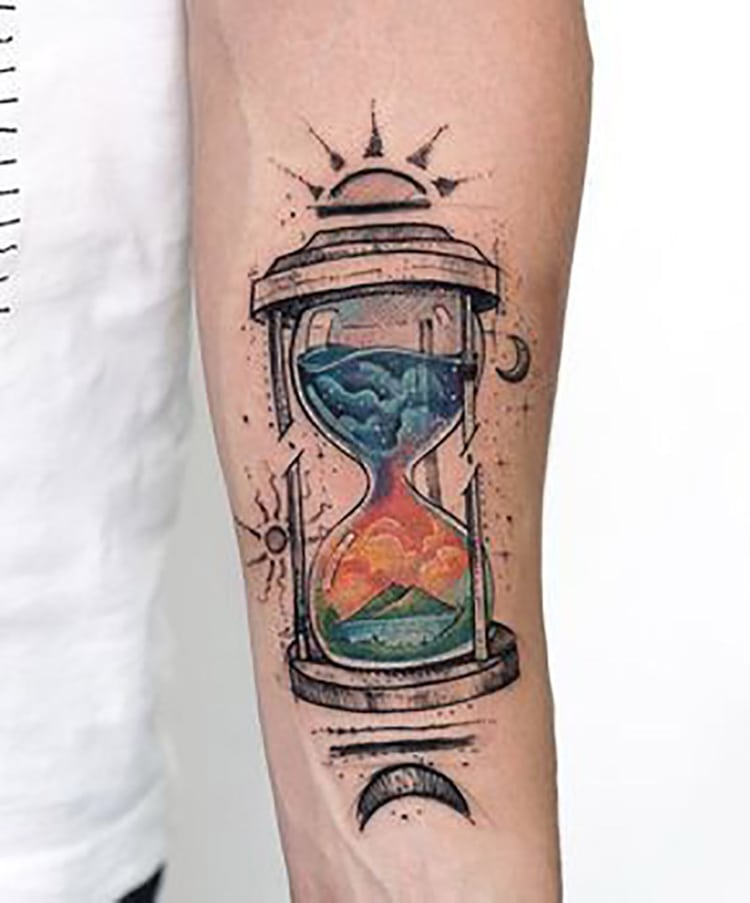 Roses Hour Glasses Tattoo: 30 Unfading Hourglass Tattoo Designs