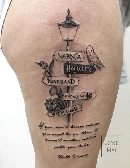 Walt Disney Sign Board Themed Tattoo