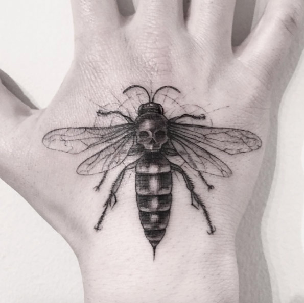 Bee And Skull Hand Tattoo