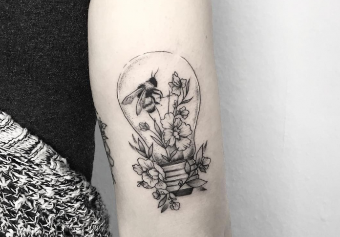 Bee In A Lamp Tattoo