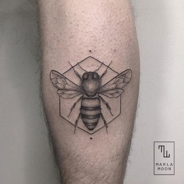 Black And Gray Bee Calf Tattoo