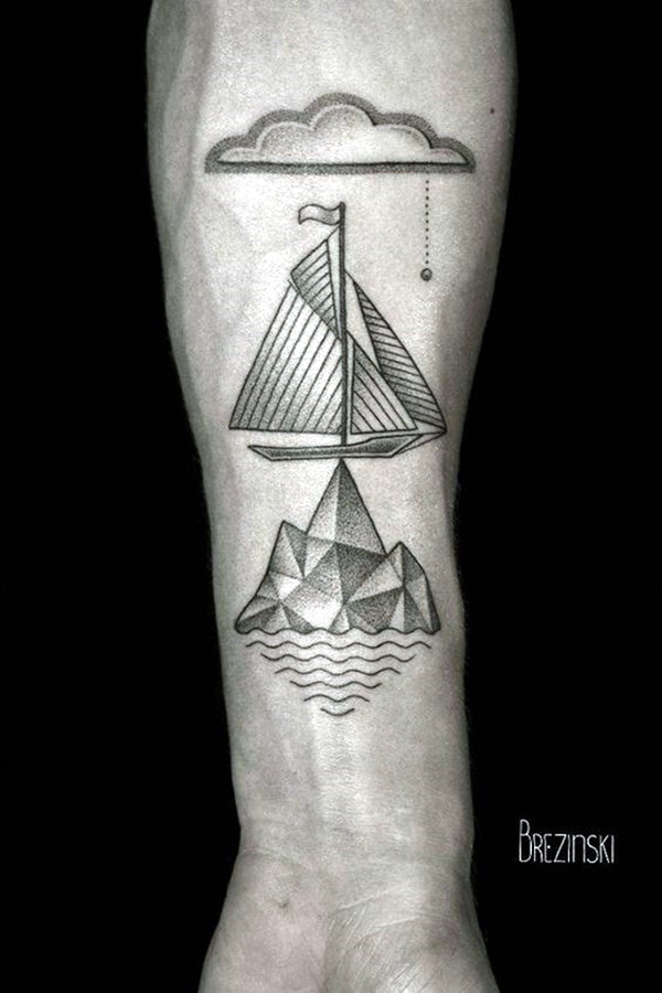 59d80eb71 Boat And Ocean Geometry Forearm Tattoo | Amazing Tattoo Ideas