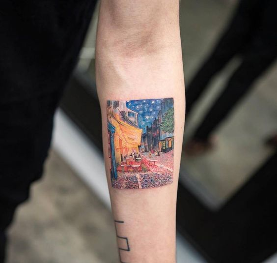 Café Terrace at Night Forearm Tattoo