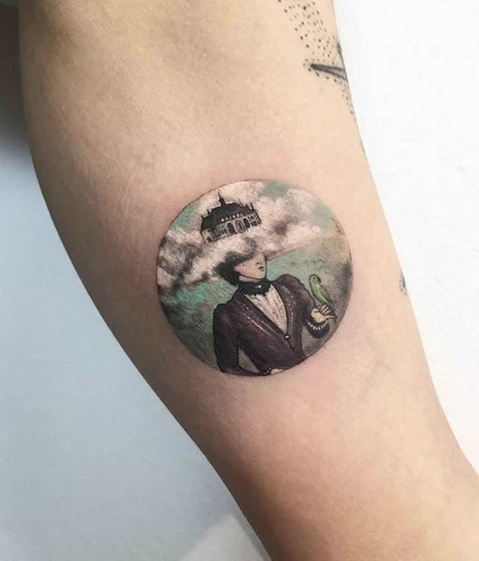 Castle In The Clouds Circle Tattoo