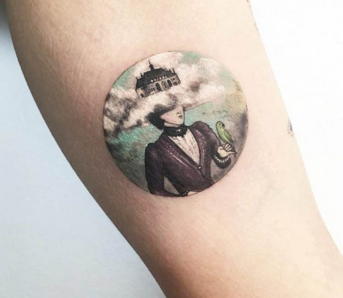 Castle in the Clouds Leg Tattoo