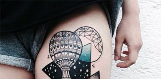 Contemporary Boat Thigh Tattoo