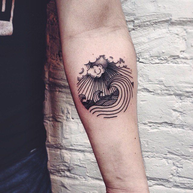 Contemporary Wave Forearm Tattoo