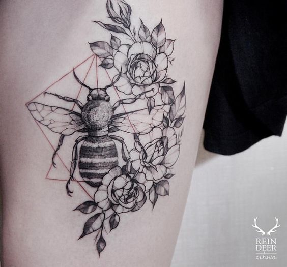 Crescent Floral And Bee Tattoo