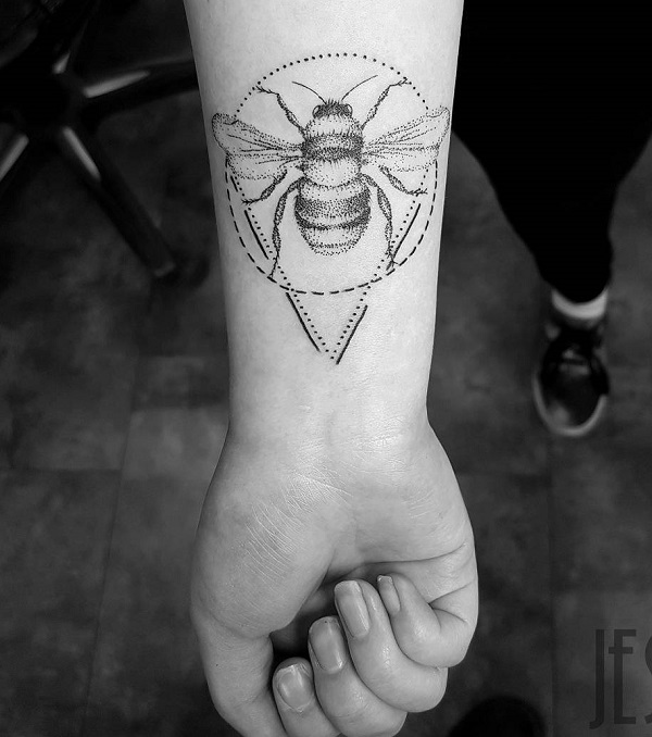 Dotwork Bee Forearm Tattoo